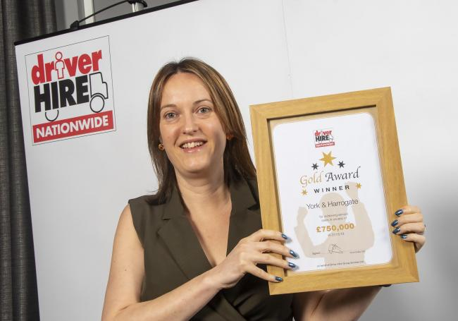 Carrie Ann Goddard, of Driver Hire York, with the Gold Achievement award
