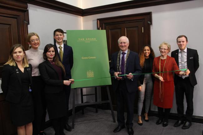 Junior Board members at the launch of The Grand Goes Green campaign, with the then Lord Mayor Keith Orrell in January 2019.