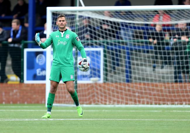 York City keeper Ryan Whitley in action at Buxton. Picture: Gordon Clayton