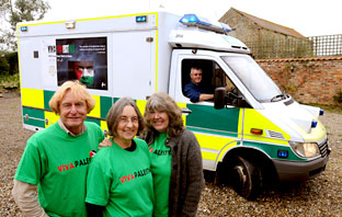 The ambulance that will be travelling to Gaza driven by a group from the York area, from left, Mike Gwilliam, York branch member of the Palestine Solidarity Campaign Carol Pearman, Heather Stroud and Steve Stroud