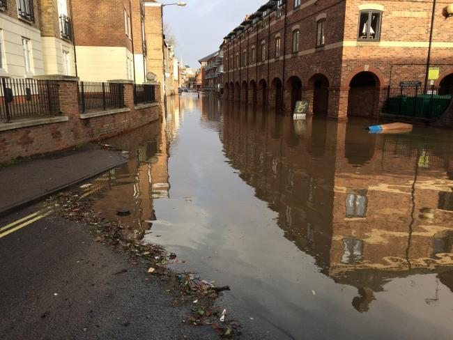 Flooding in Skeldergate earlier this week: worse flooding is forecast in York after Storm Dennis