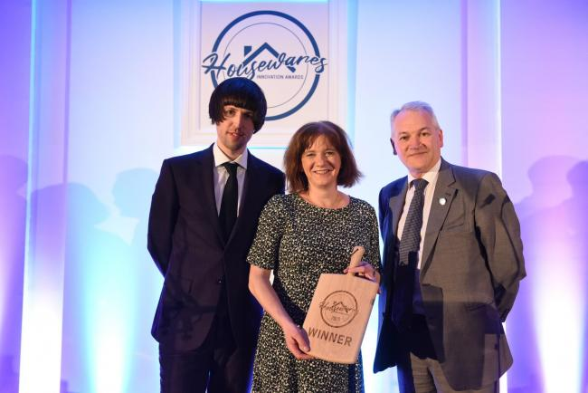 From left, Awards host Tom Ward, comedian, Jo Asquith, of Frankie & Johnny's Cookshop, Andrew Goodacre, CEO of BIRA, British Independent Retail Association.