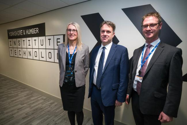 From left, Amy Gadd, head of Institute of Technology, Julian Sturdy MP and Lee Probert, chief executive and principal of York College