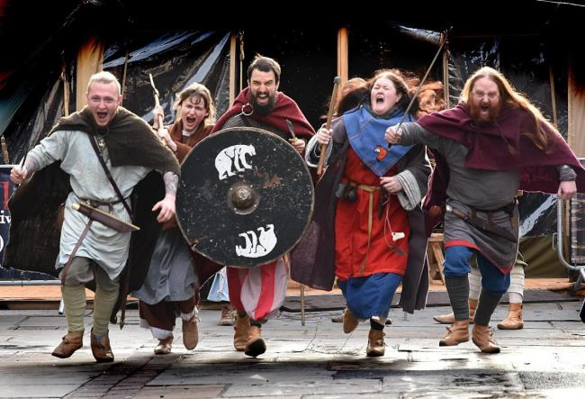 Vikings descend on the streets of York at the start of the Jorvik Viking Festival lat year  Picture: Frank Dwyer