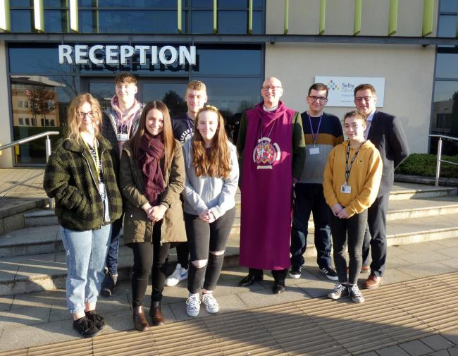 The Bishop of Selby, Reverend Dr John Thomson with Selby College staff and students
