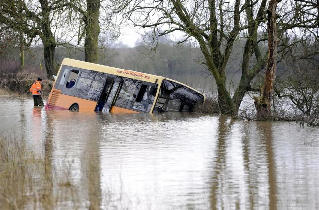 The school bus stranded when Graham Jones drove into flood water during the 2015 floods
