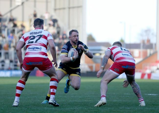 York City Knights captain Tim Spears runs at the Leigh Centurions defence. Picture: Gordon Clayton