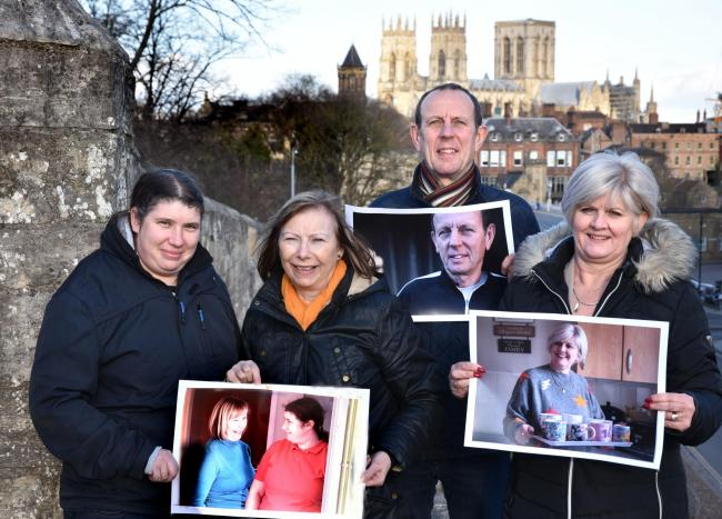City of York Council foster carers Rocky Adamson, Chez Adamson, Steve Farrow and Lesley Craven   Picture Frank Dwyer
