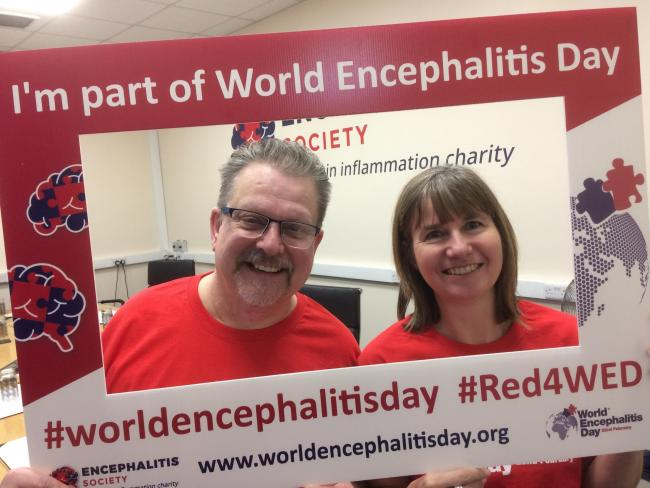 Support coordinator Jon Ainley and administrator Julie Welburn, from the Encephalitis Society, which is based in Malton, gear up for World Encephalitis Day on Saturday