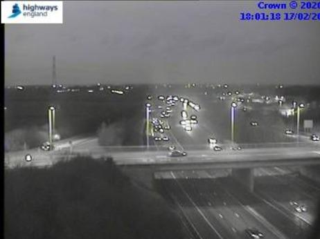 Traffic pictured starting to build up on the A64 after the crash in this Highways England image