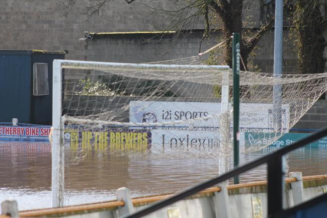 Flooding at Tadcaster Albion's Global Stadium. Picture: Keith A Handley