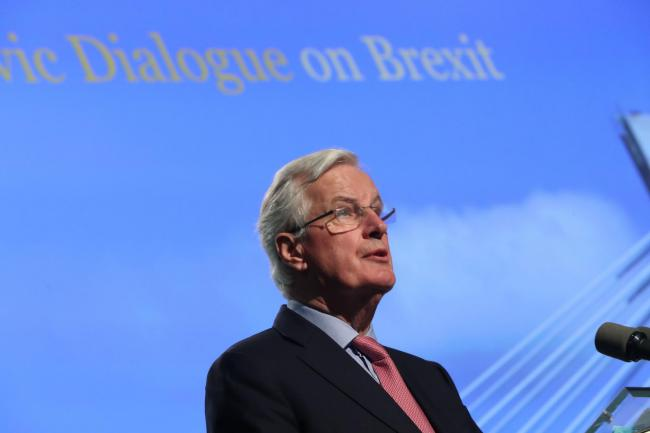 Michel Barnier speaking at a press conference Picture: Niall Carson/PA Wire