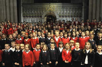 Primary School children from across York join choristers in York Minster to perform a concert of Christmas carols.