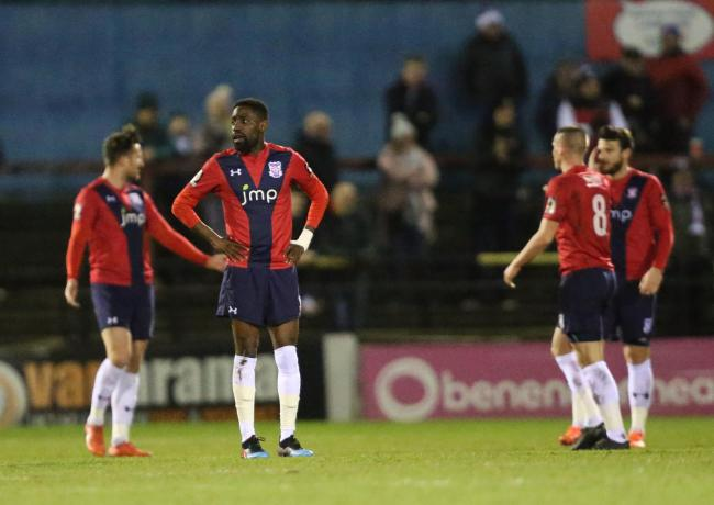 York City's Adriano Moke looks on after York concede in their 4-1 defeat to Hereford. Picture: Gordon Clayton