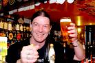 "Neil ""Traff"" Trafford behind the bar at the Rook & Gaskill in York"