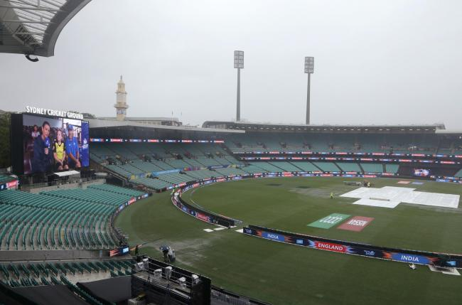 Rain at the Sydney Cricket Ground extinguished England's chance of making the final of the Women's T20 World Cup. Picture: AP Photo/Rick Rycroft.