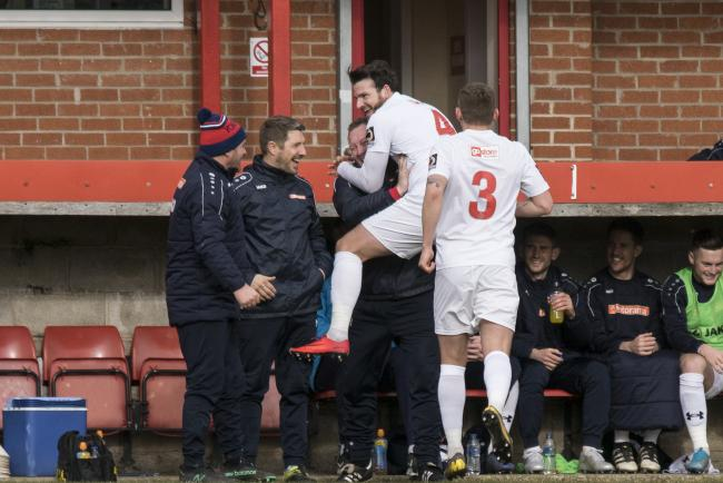 Sean Newton celebrates with boss Steve Watson after his free kick put York City 1-0 up at Alfreton Town. Picture: Ian Parker