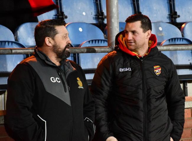 Dewsbury Rams head coach Lee Greenwood (right) alongside Whitehaven head coach Gary Charlton (left). Picture: Ben Challis