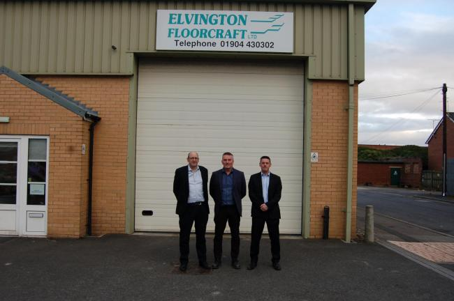 From left, Matthew Smith, of Andrew Jackson Solicitors, with Andy Garland, of Elvington Floorcraft Ltd and Graham Garbett, of Birchfields Corporate Finance