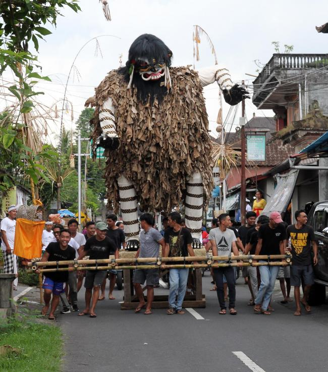 An Ogoh Monster. But the real monster is discarded plastic, says Christian Vassie