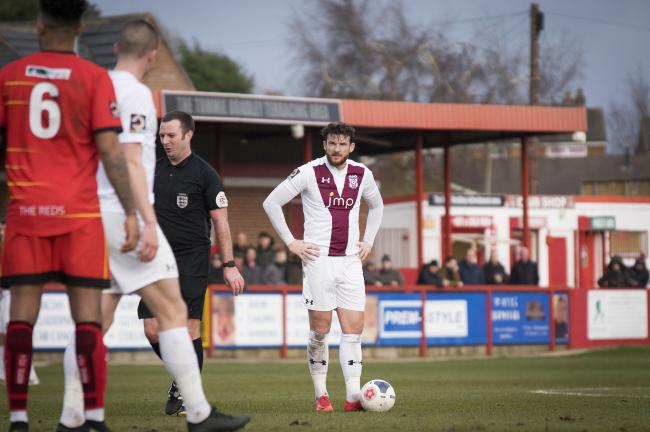 York City's new captain Sean Newton lines up a free kick at Alfreton Town. Picture: Ian Parker