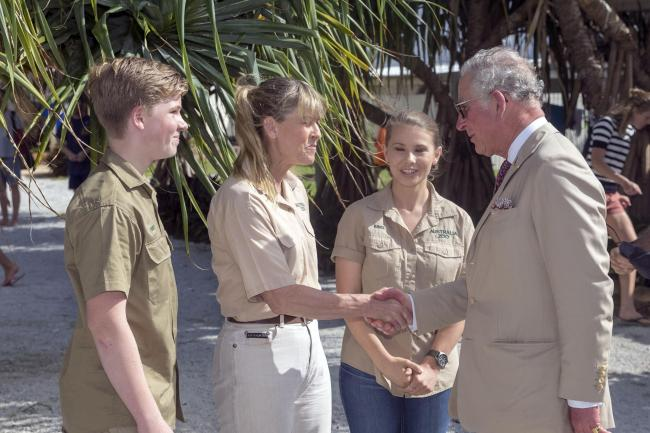 Bindi Irwin meets the Prince of Wales with her mother and brother