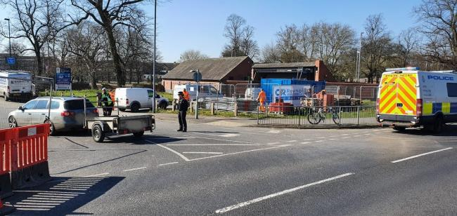 One of the police checkpoints deployed in York today  Picture tweeted by North Yorkshire Police