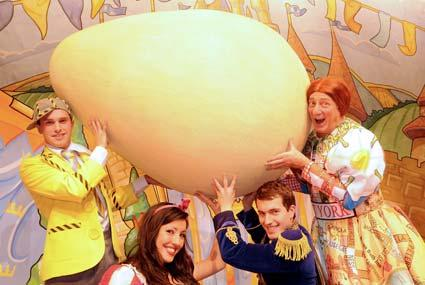 The cast from Humpty Dumpty  at York Theatre Royal stage their first dress rehearsal. Pantomime members, from left,  AJ Powell, Julie Anna Castro, Vincent Gray and Berwick Kaler.