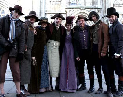 The cast arrive on set  near York Minster, for the filming of a BBC period drama about the life of 18th century socialite Anne Lister.