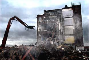 Demolition begins at York's Nestle factory in Wigginton Road, prior to the site's redevelopment.