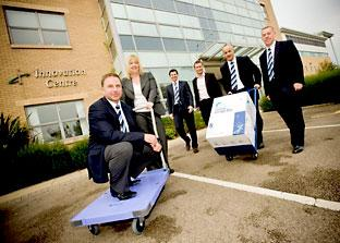 From left, i2i  managing director Matthew Gore, with trolley, Tracey Smith, general manager of York Science Park, James Gore, Mark Senton of Senton & Simpson, financial services, Kent Mayall and Shaun McKenna, of i2i