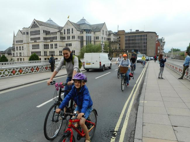 Members of the York Cycle Campaign, pictured on Lendal Bridge