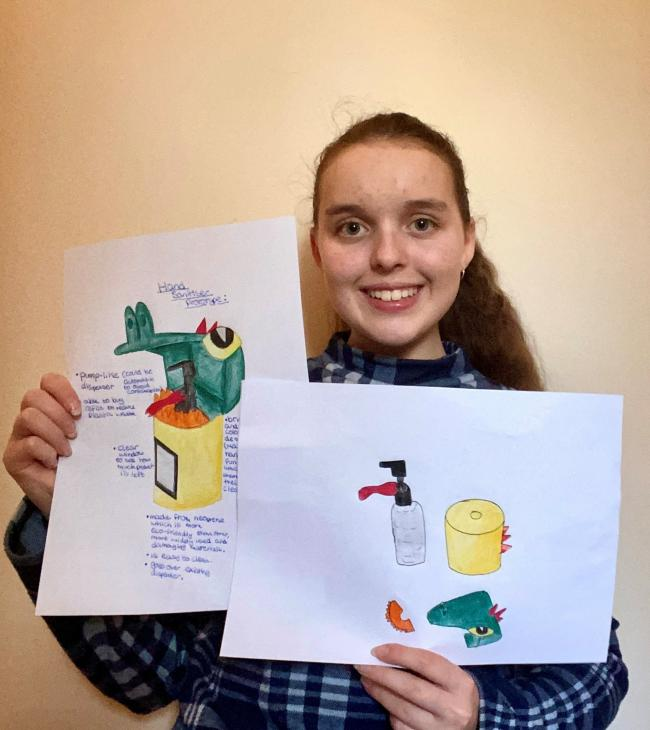 Maggie Hutchings,14, from St Peter's School, York, designed an innovative hand sanitiser in response to the coronavirus pandemic