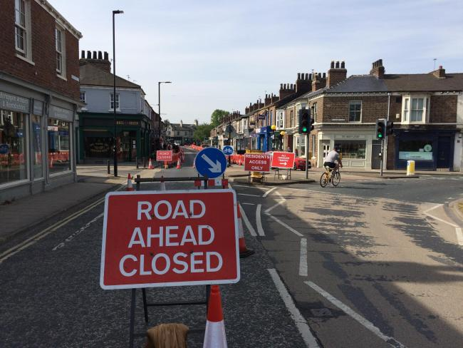 Bishopthorpe Road has been closed to traffic heading out of the city centre as an emergency measure to make it easier for social distancing