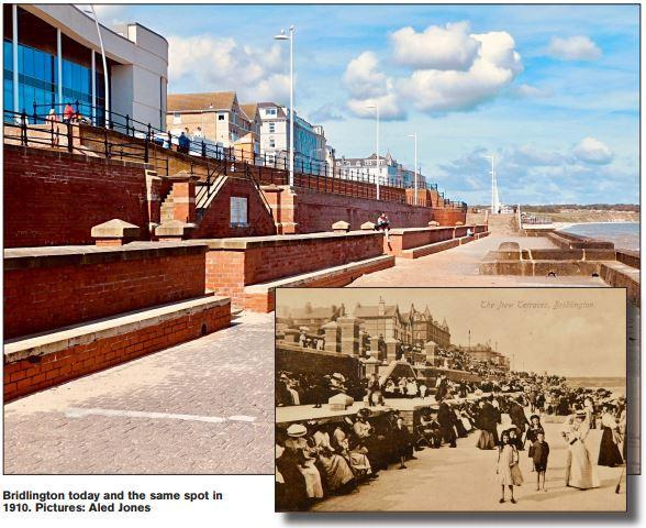 Bridlington seafront today and (inset) the same view in 1910