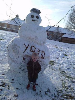 This snowman was built by  Dean Besford for son Bailley (2yrs) with a bit of help from Uncle Barry Besford