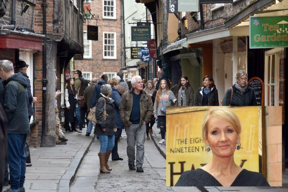 Shambles. Picture by Frank Dwyer; inset J.K. Rowling, picture by: Yui Mok/ PA Wire
