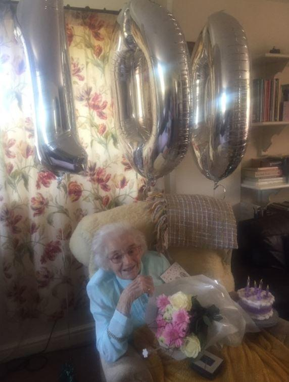 Joyce Richardson at home, on her 100th birthday