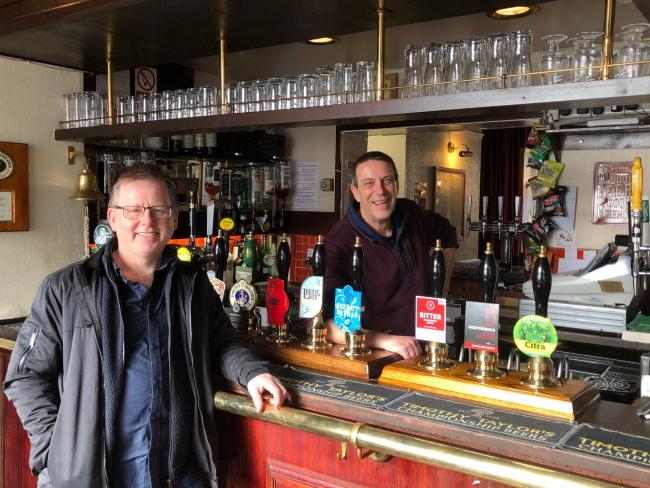 Paul Crossman, inside The Swan at Clementhorpe, York, with manager Ian Warner (picture taken before the lockdown)