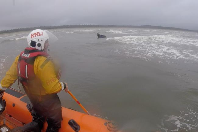 A runaway horse was rescued by the RNLI after swimming more than a mile out to sea in western Ireland