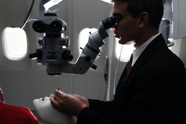 An ophthalmologist at work