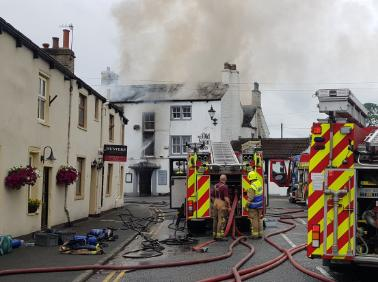 Firefighters tackle the blaze at the pub  Picture tweeted by North Yorkshire Fire & Rescue Service