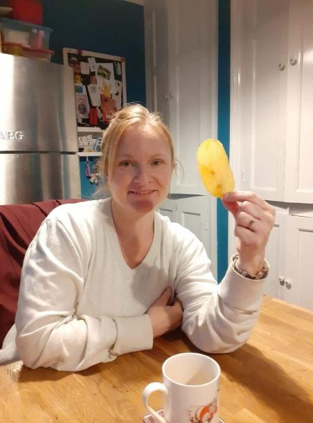 Mel Suttill with the large crisp she found on Monday