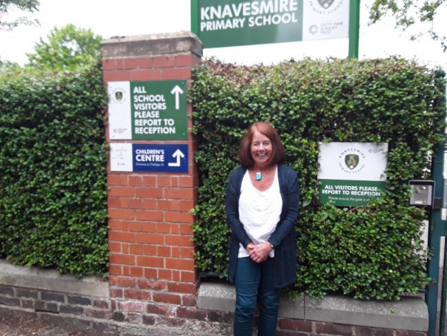 Jane Woolgar outside Knavesmire Primary School