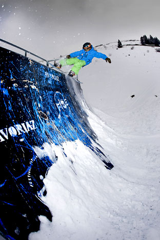 Rowan in action in the half-pipe at the Burton European Open. Photo by Nick Atkins