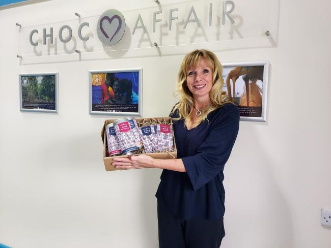 Linda Barrie, founder of York-based Choc Affair, with her new limited edition Best of British range to mark Yorkshire Day.
