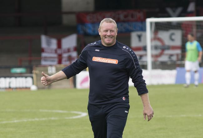 York City manager Steve Watson before his side's game against Altrincham. Picture: Ian Parker