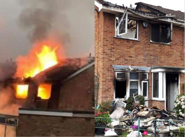 Left: Fire tore through the house in Haxby. Right: The scene of devastation following the house fire