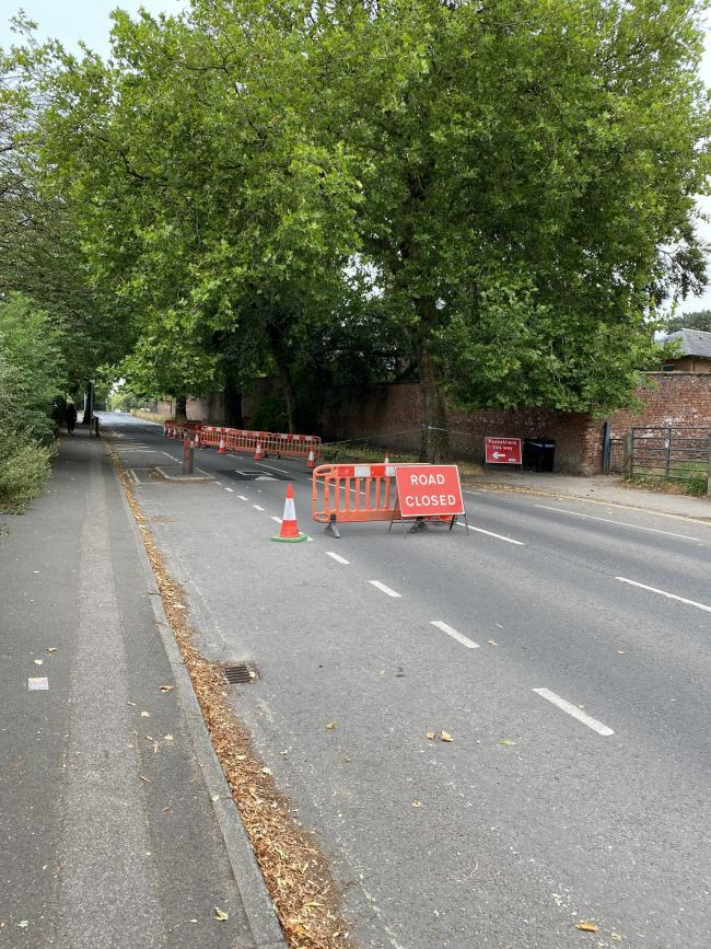 Heslington Road has been closed by an uprooted tree