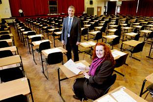 Head teacher Maggi Wright  and deputy head Andrew Janes in the old Joseph Rowntree School's hall.